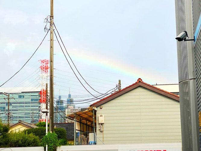 雨上がりに虹が!